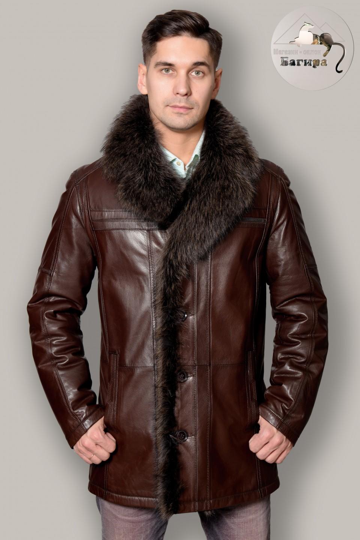 873e1c7425f Кожаная куртка на меху с енотом 75091 за 33000 рублей. Кожаная ...